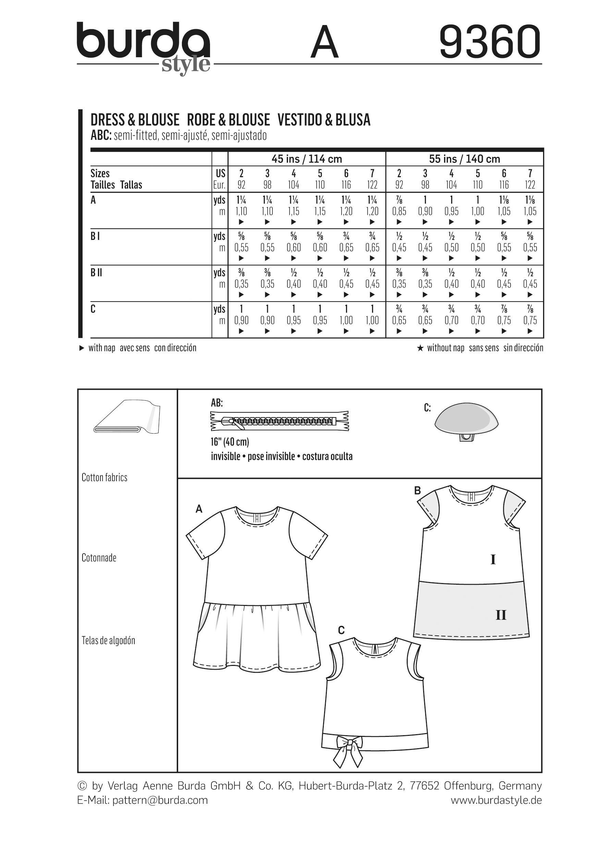 Burda Child Dress Blouse And Skirt