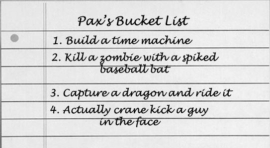 My bucket list