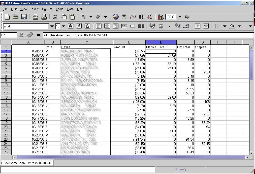 Gnumeric spreadsheet