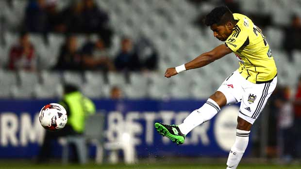 Striker Roy Krishna gets a shot away during Wellington's Westfield FFA Cup clash against the Wanderers.