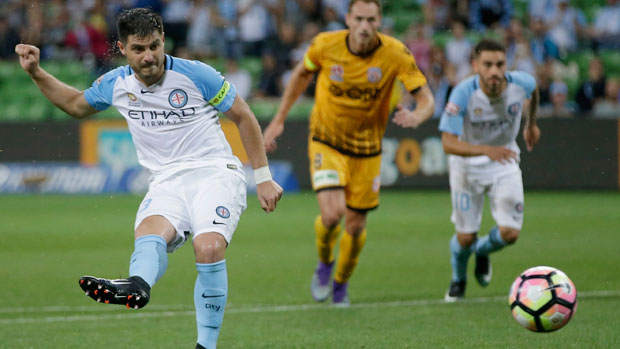 Bruno Fornaroli slots his penalty into the bottom corner in City's clash with Perth Glory.