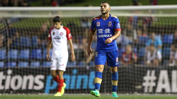 A despondent Andrew Nabbout in the Jets' heavy 3-0 loss to the Wanderers on Saturday night.