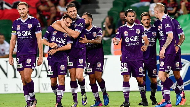 Perth Glory players celebrate Chris Harold's first-half strike in their win over Western Sydney Wanderers.