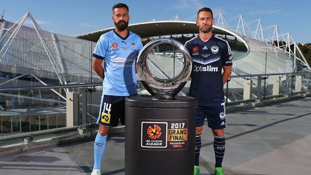 Sydney FC captain Alex Brosque and Melbourne Victory skipper Carl Valeri.