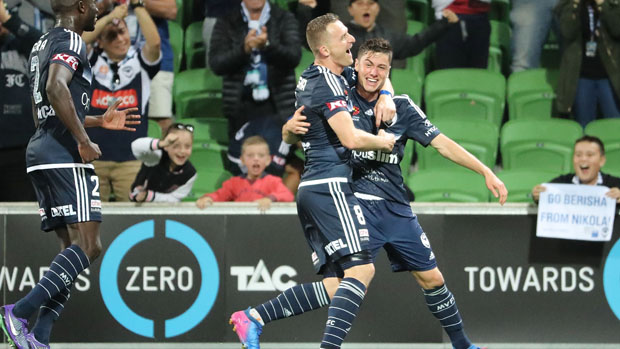 Victory star Marco Rojas celebrates with Besart Berisha after scoring the opener in their win over Adelaide United.