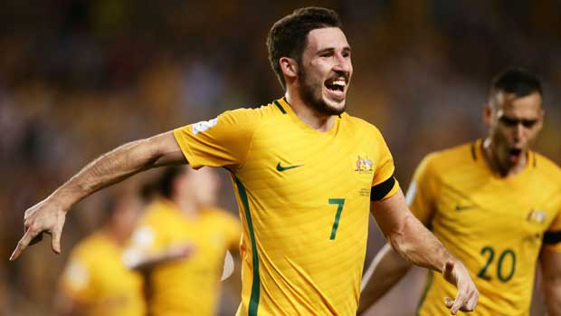 Mat Leckie was all smiles after his goal.