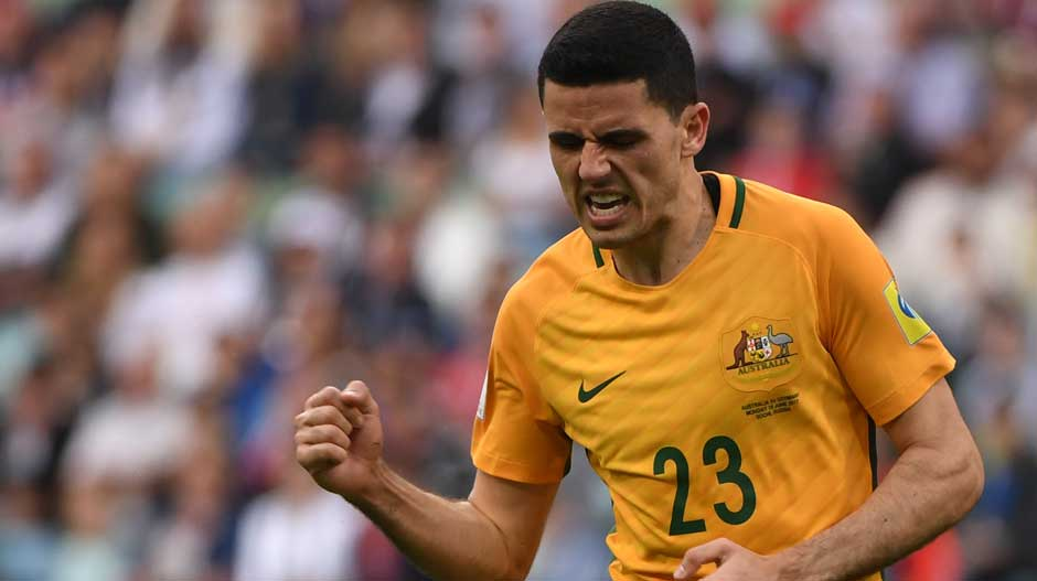 Rogic celebrates bringing the Caltex Socceroos back on level terms.