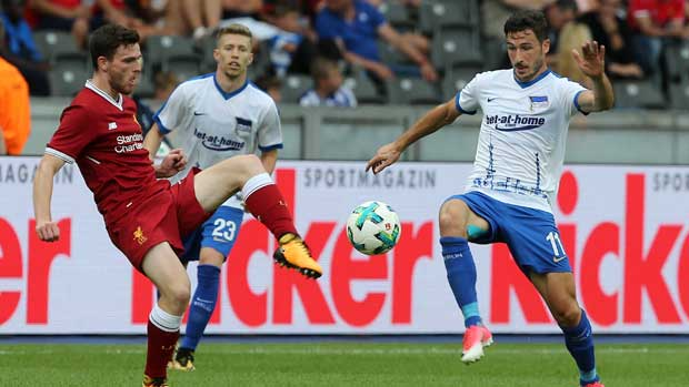 Mathew Leckie in action for Hertha Berlin against Liverpool.