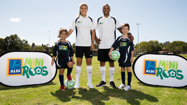 Archie Thompson and Steph Catley are the new ambassadors for the ALDI Miniroos program.