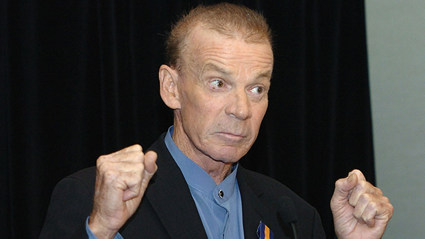 Johnny Warren is honoured with the Centennial Medal of honour in 2004.