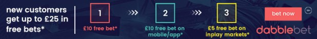 dabblebet new customer promo up to £25 footer