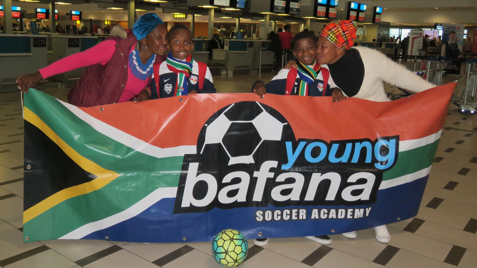 Young Bafana at Cape Town International Airport before debarture for Russia World Cup 2018
