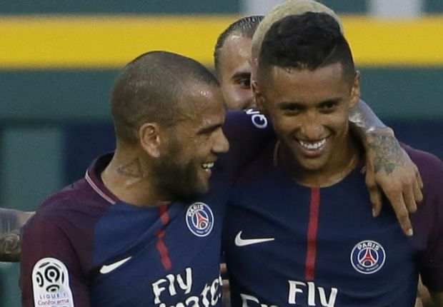 Dani Alves with PSG team-mate Marquinhos