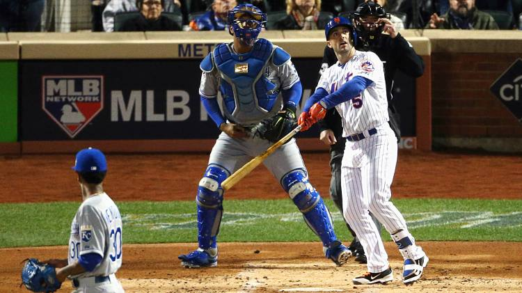 David Wright ignites the Mets with a first inning homerun in Game 3 of the World Series. (Getty Images)