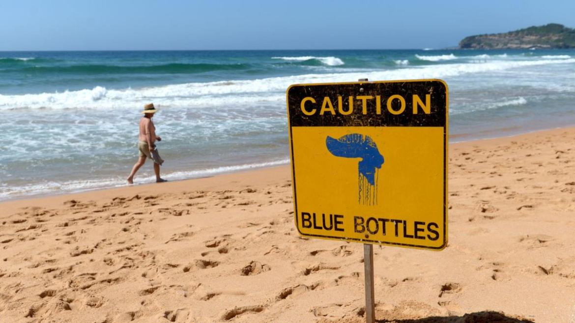 Caution is urged via a sign at Warriewood Beach on Sydney's northern beaches.