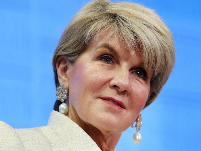 Former Foreign Minister Julie Bishop avoided questions about press freedom in Australia.
