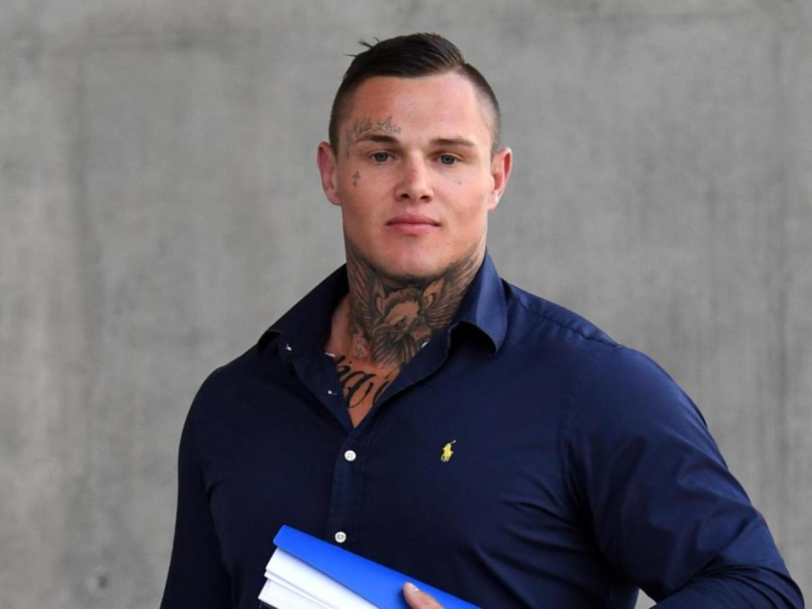 Former Gold Coast Titan Dan Kilian leaves court in 2017. He has now an ex-bikie member and has lent his support to the Exit Program.