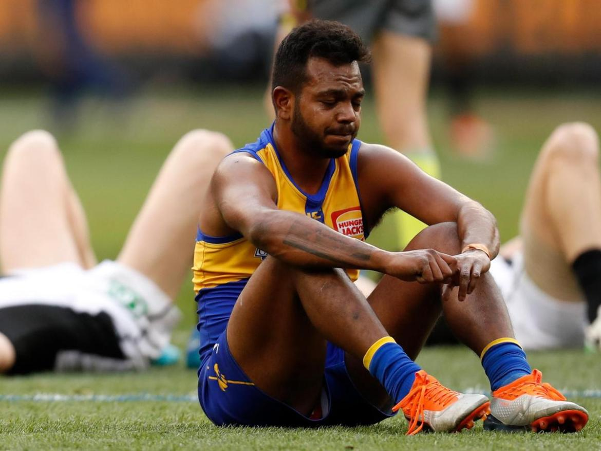 Willie Rioli of the Eagles reacts as the final siren sounds during the 2018 Toyota AFL Grand Final match.