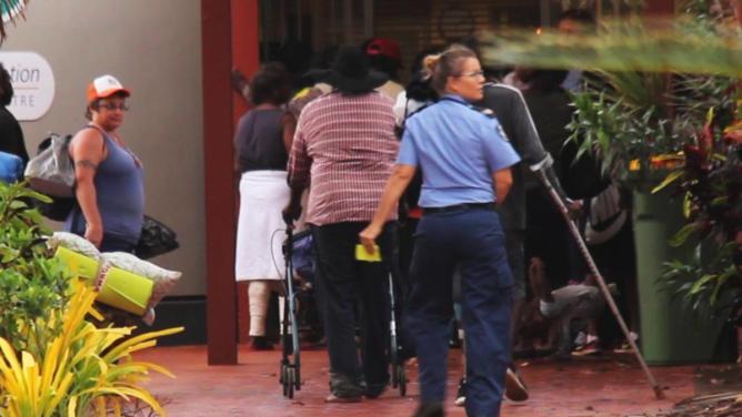 Residents taking refuge in BRAC as Tropical Cyclone Joyce looms. Picture: Derek Hobbs