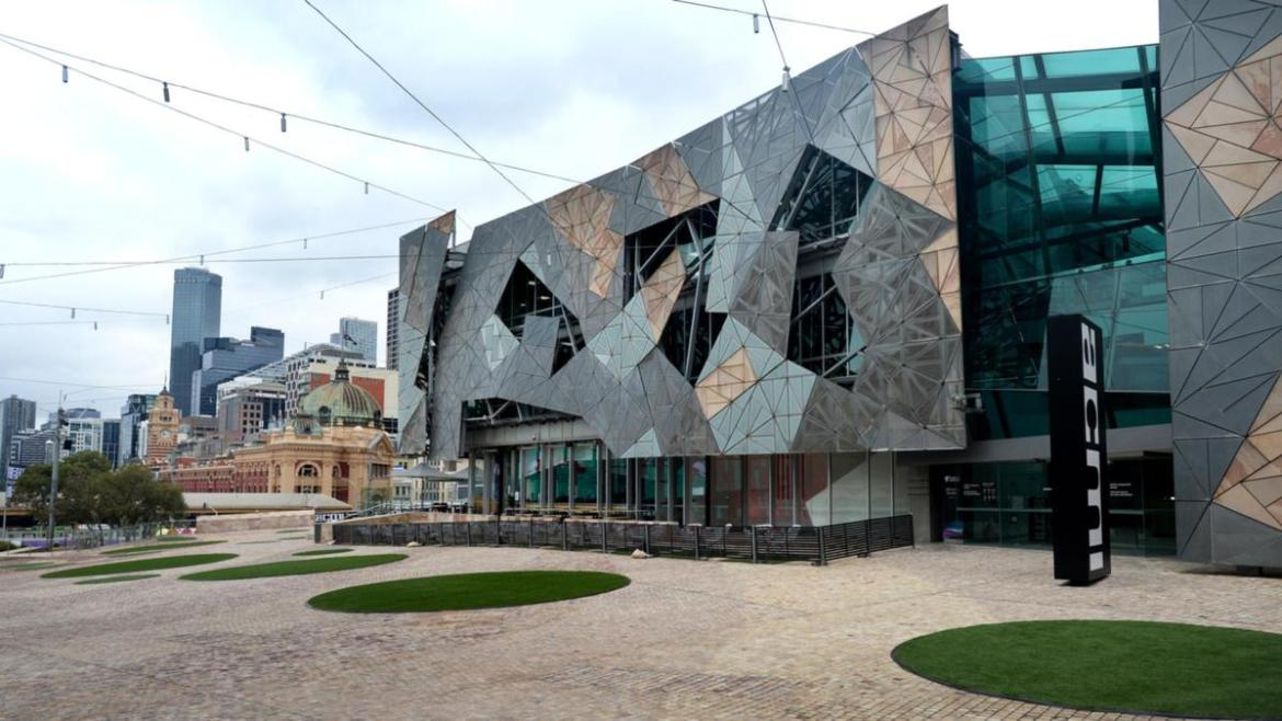 Federation Square is deserted during the current COVID lockdown.
