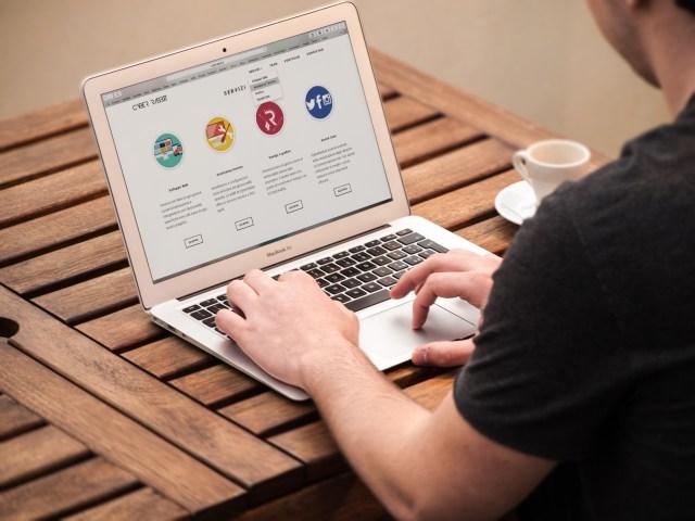 Free stock photo of apple, desk, laptop, internet