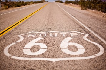 Route 66 Printed on Road