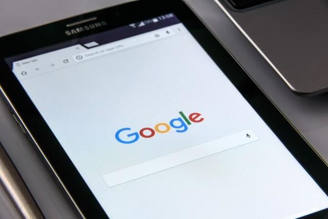Black Samsung Tablet Display Google Browser on Screen