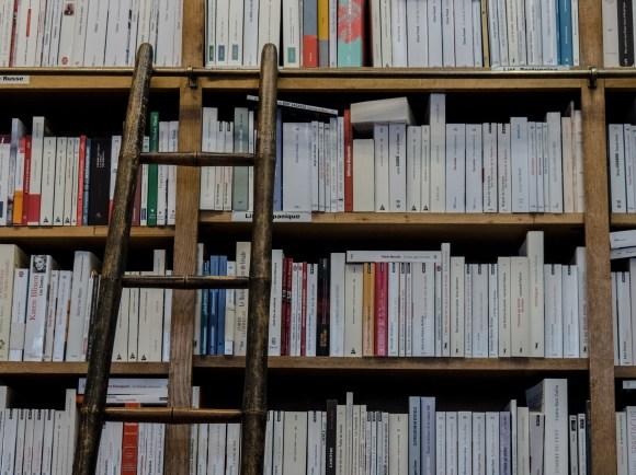 Brown Wooden Ladder on Brown Wooden Bookshelf · Free Stock ...