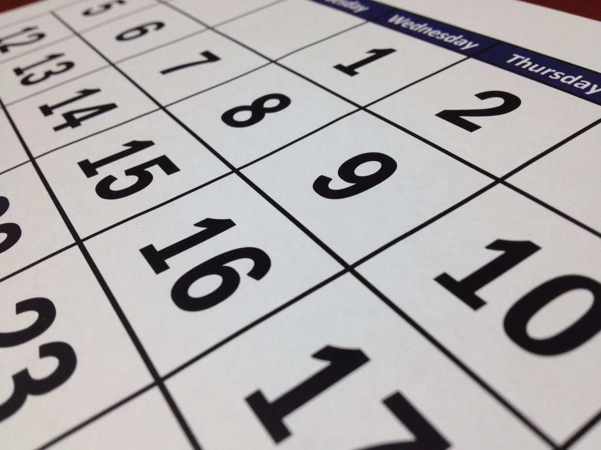 Free stock photo of date, calendar, white, black