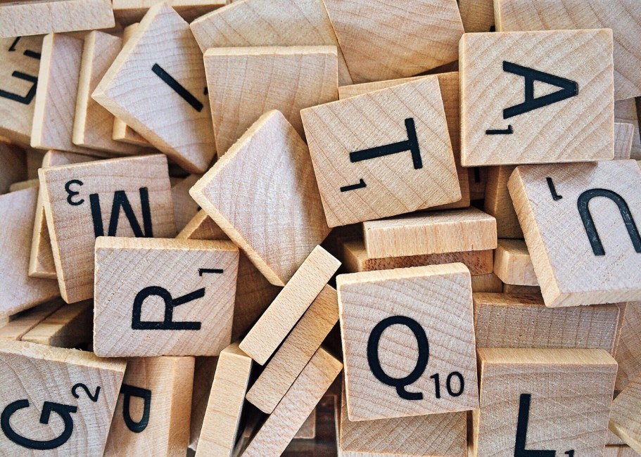 alphabet, board game, box