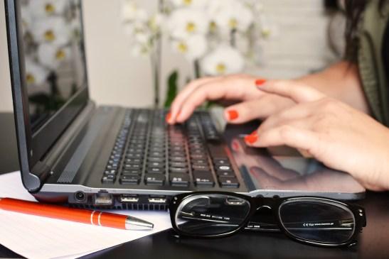 desk, glasses, laptop