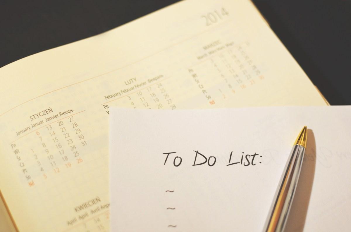 Free stock photo of pen, calendar, to do, checklist