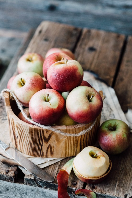 Close-up of Apples in Wooden Bowl