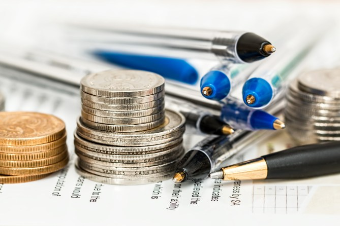 Free stock photo of pens, money, coins, finance