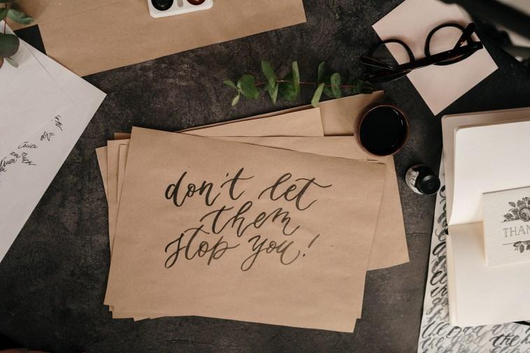Motivational Statement written on Brown Envelope