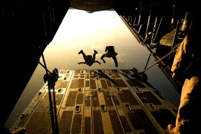 Two Man Sky Diving in Low Angle Photography