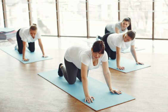 Women in White T-shirt and Black Pants Doing Yoga