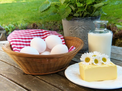 Eggs in Basket and Cheese on White Plate