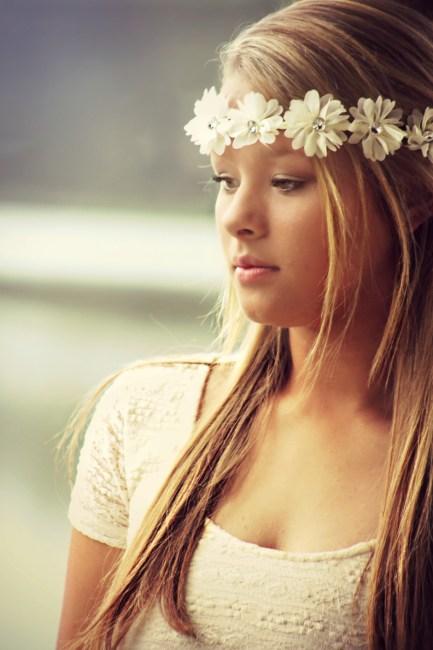 Woman Wearing Floral Headdress Free Stock Photo