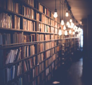 Free stock photo of lights, books, blur, bulb