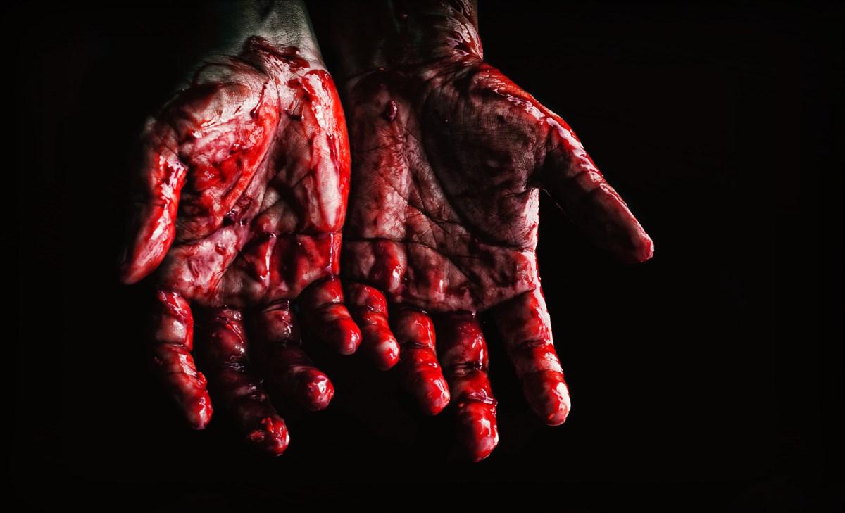 hand full of blood