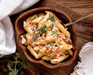 Cooked Pasta on Brown Wooden Bowl