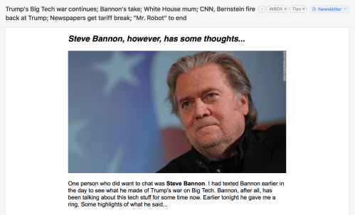 Steve Bannon argues for data trust, says big tech will be top issue by 2020