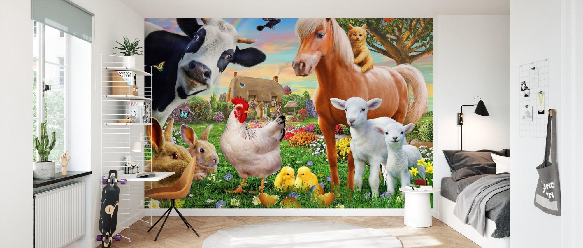 Rendi bella la tua casa con la carta da parati cavalli e altri articoli ispirati alla fauna. Farm Animals For Kids Fotomurale Conveniente Photowall