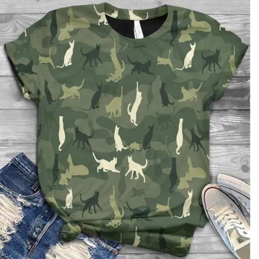 Cat In Green Camo shirt