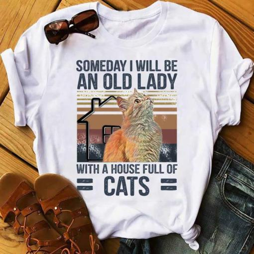 Someday I Will Be An Old Lady With A House Full Of Cats Vintage Shirt