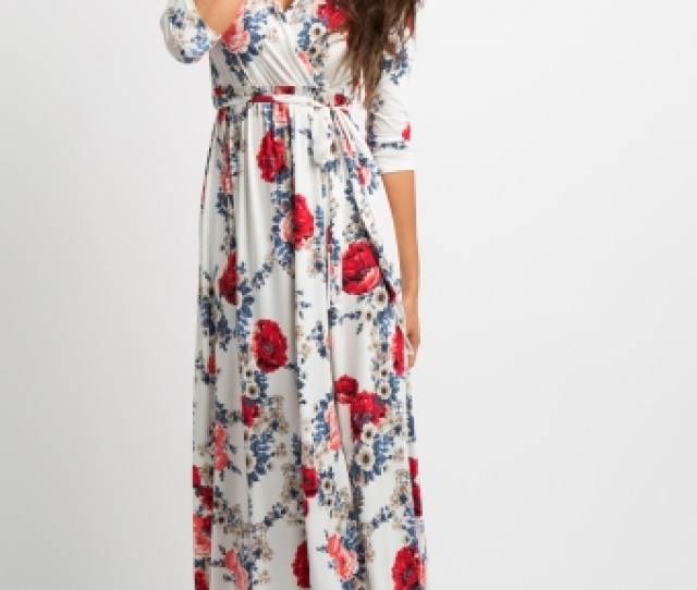 White Garden Wrap Maxi Dress