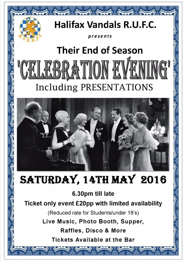 End of Season Celebration Evening - Saturday 14th May 2016 ...