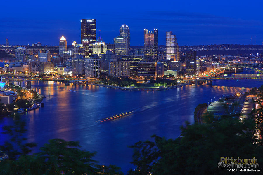 Downtown Pittsburgh with the Three Rivers confluence