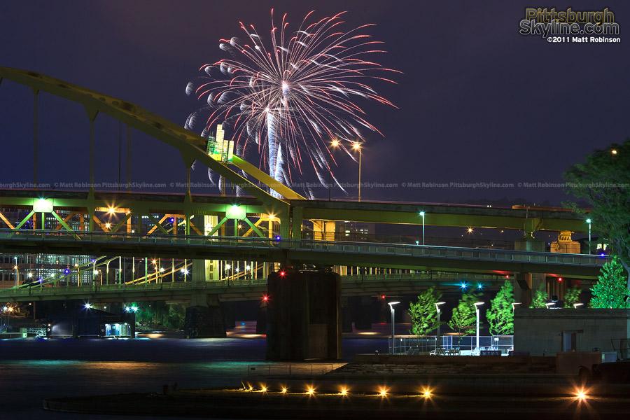 Fireworks over the Fort Duquesne Bridge